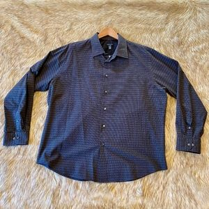 Van Heusen Black Grey Patterned Dress Shirt